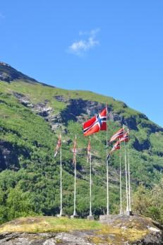 Geiranger - Norwegian flags