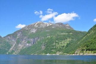 Geiranger - waterfall and hairpin bends