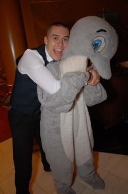 Ian dolphin hug